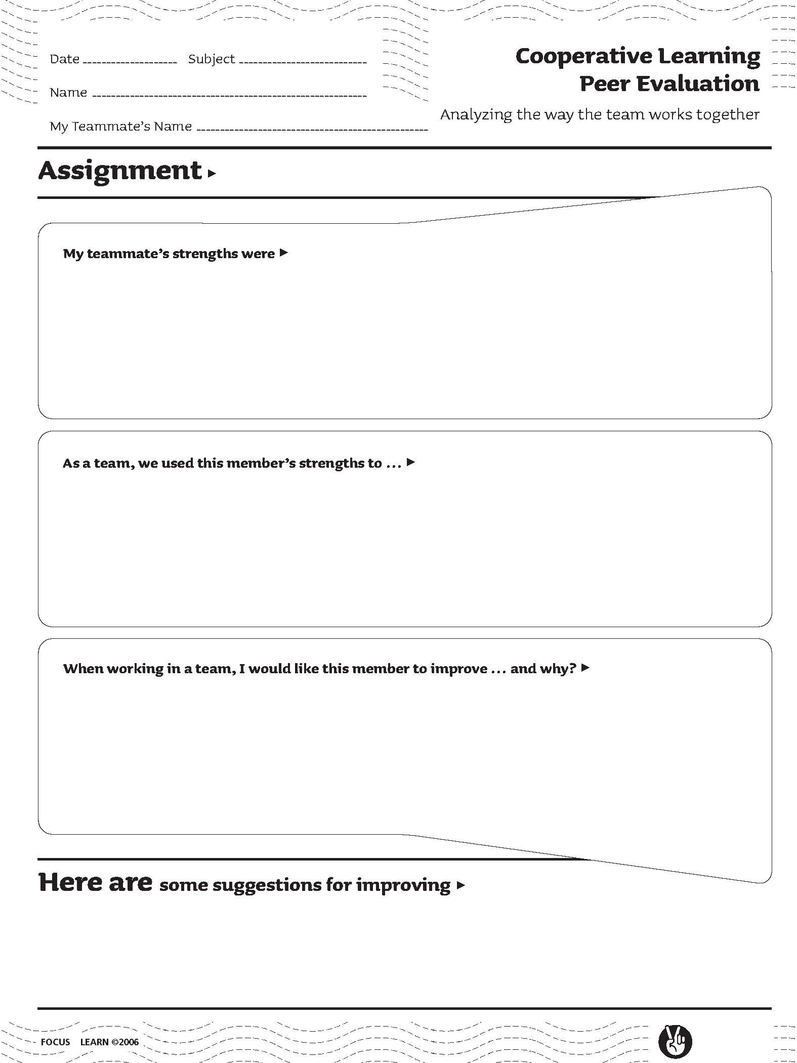 Cooperative Learning Peer Evaluation