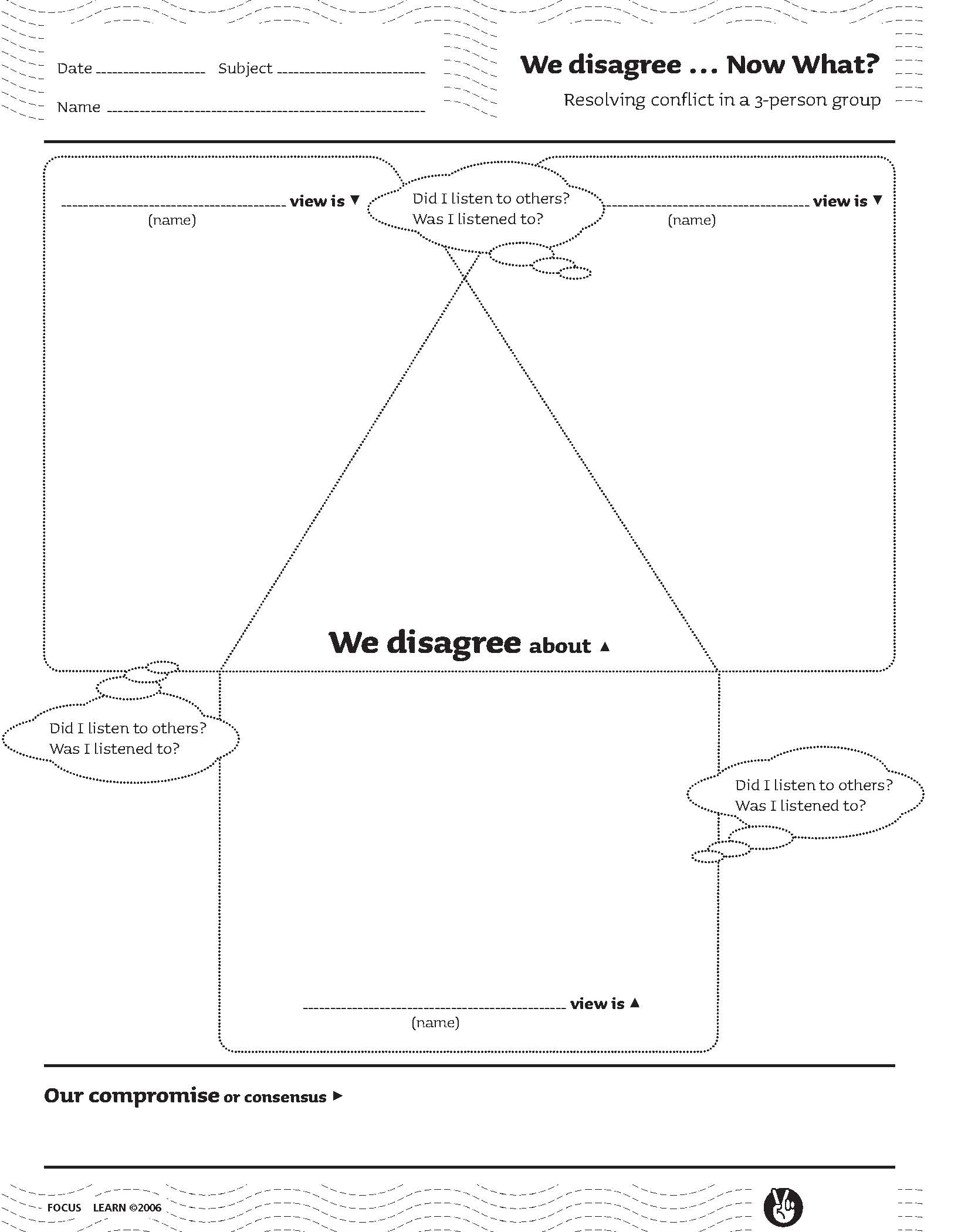 We Disagree...Now What? (Resolving conflict in a 3-person group)