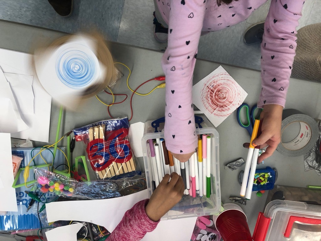 Students making artbots